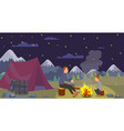 flat night camping father preparing dinner vector image vector image