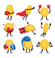 flat set of golden coins with arms and legs vector image vector image