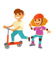 happy children girl and boy skating roller scooter vector image vector image