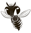 happy monochrome bee vector image