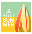 hello summer background with colorful surfboards vector image vector image