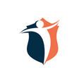 human shield security logo negative space design vector image vector image