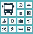 journey icons set collection of doss certificate vector image vector image