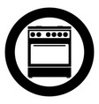kitchen stove icon black color in circle vector image vector image