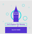 lets explore the beauty of galata tower istanbul vector image vector image