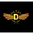 Letter D winged crests logo Alphabet logotype vector image vector image