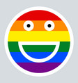 lgbt rainbow flag smiling face smiley icon vector image vector image