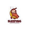 logo sleeping monkey mascot cartoon style vector image vector image