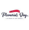 memorial day lettering poster vector image
