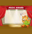 music award with cat singing vector image vector image