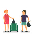 people throw garbage concept background flat vector image