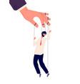 puppet businessman manipulating human hand vector image vector image