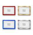 realistic gold silver red and blue picture frames vector image