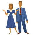 retro couple 1940s fashion style man in suit and vector image vector image