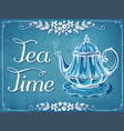 retro tea time with teapot and floral frame vector image