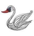 sad swan vector image vector image