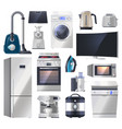 set kitchen appliance electronics for home vector image