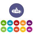 submarine sea icons set color vector image vector image