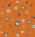 teal green orange flower seamless repeat pattern vector image