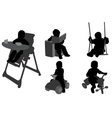 toddlers silhouettes vector image vector image
