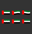 united arab emirates flag set official colors of vector image