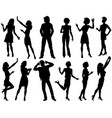 various people silhouettes vector image vector image