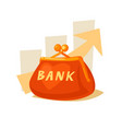 wallet and bank in cartoon style vector image