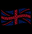 waving great britain flag mosaic of fireworks star vector image vector image