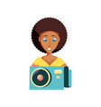 woman black with camera photographic vector image