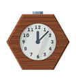 wooden table clock retro style time measuring vector image vector image