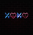 xoxo letters and heart shapes neon sign vector image vector image