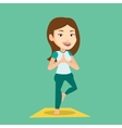 Young woman practicing yoga tree pose vector image vector image