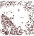 Zen Tangle girl with flowers vector image vector image