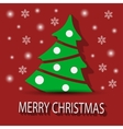 Christmas card with Christmas tree on a red vector image
