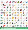 100 profession icons set isometric 3d style vector image vector image