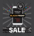 black friday sale with shopping mall on mobile vector image vector image
