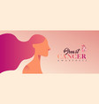breast cancer pink woman banner for support vector image