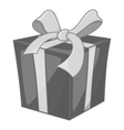 Christmas box with bow icon monochrome style vector image