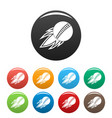 cricket fire ball icons set color vector image