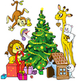 cute animals celebrate christmas vector image vector image