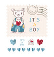 cute its a boy teddy bear postage stamp vector image
