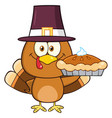 cute pilgrim turkey bird cartoon character vector image vector image