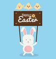 cute rabbit with chicks and easter label vector image