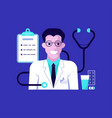doctor portrait and medical icons vector image