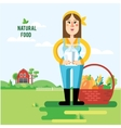 farmer and vegetables vector image vector image