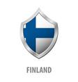 finland flag on metal shiny shield vector image vector image