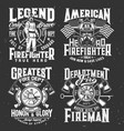 firefighter t-shirt print firefighting department vector image vector image