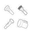 flashlight icon set outline style vector image