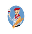 flat french young man with wine baguette