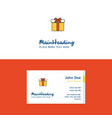 flat giftbox logo and visiting card template vector image